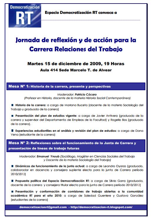 Jornada de reflexión y de acción para la Carrera Relaciones del Trabajo