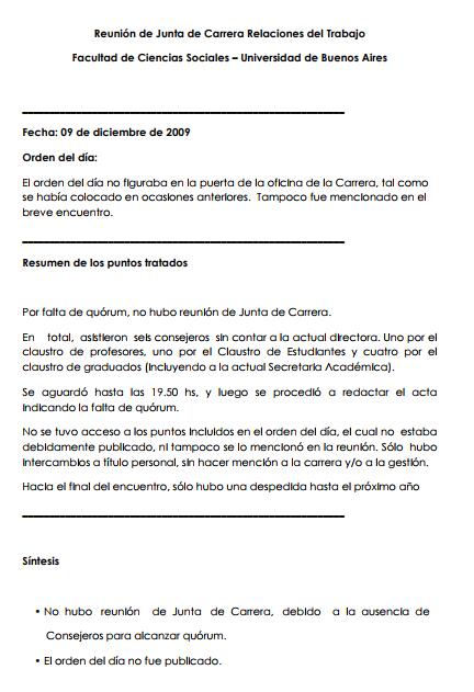 Minuta de Junta de Carrera  09/12/09