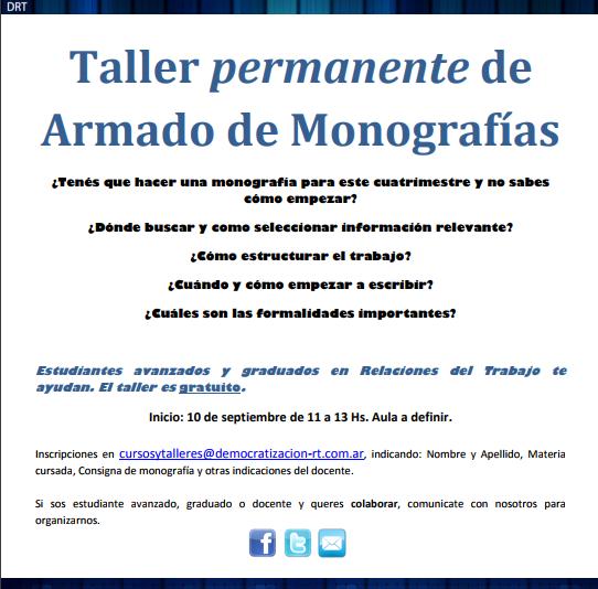 Actividad Abierta: Taller Permanente de Armado de Monografías