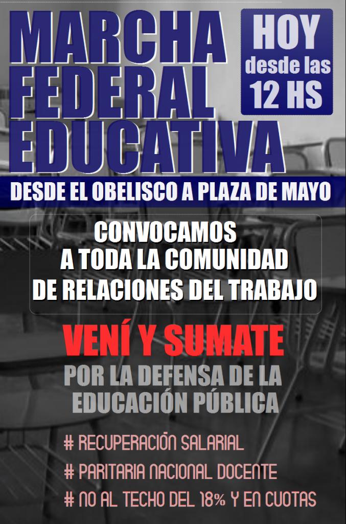 ¡Apoyamos a los docentes y vamos a la marcha federal!