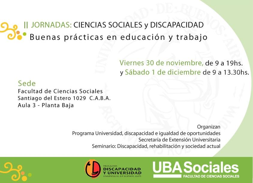 II Jornadas Ciencias Sociales y Discapacidad