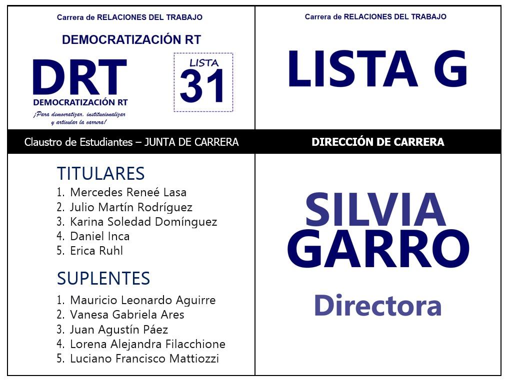 Nuestros/as Candidatos/as Estudiantes para la Junta de Carrera