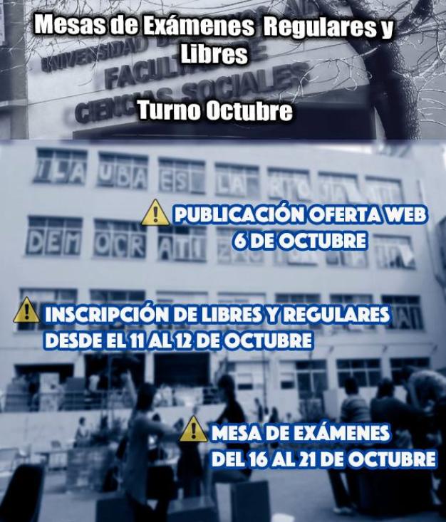 Calendario de exámenes regulares y libres de Octubre de 2017.