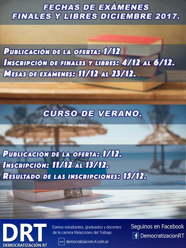 Calendario de #FinalesYLibres #CursoDeVerano