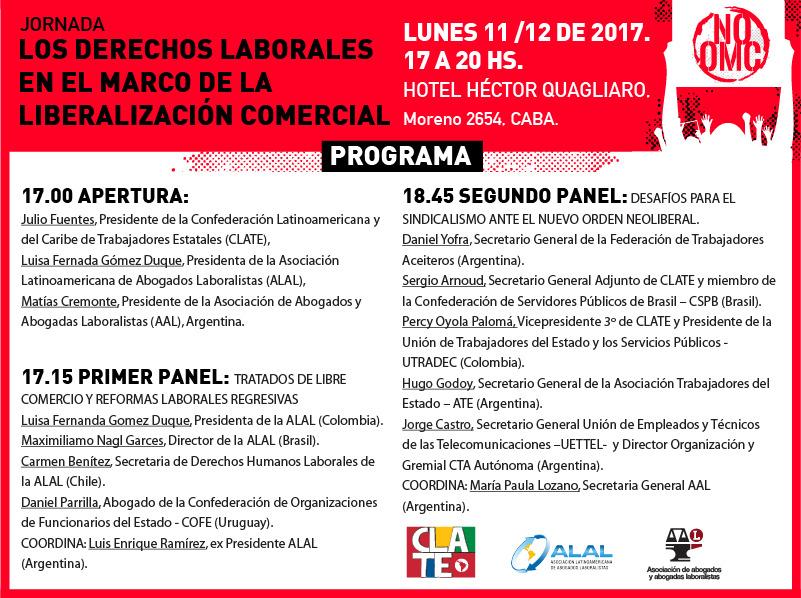 Lunes 11/12 de 17 a 20 hs. – Los derechos laborales en el marco de la liberalización comercial