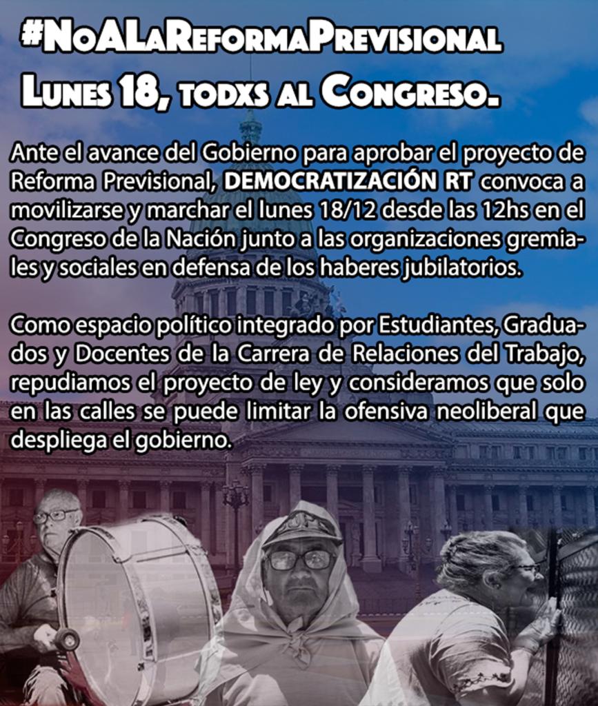 #NoALaReformaPrevisional: Lunes 18, desde las 12hs Todxs al Congreso.