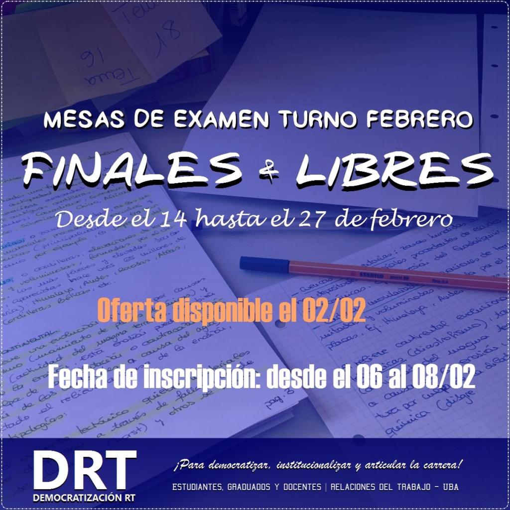 Calendario de Finales y Libres – Febrero2018