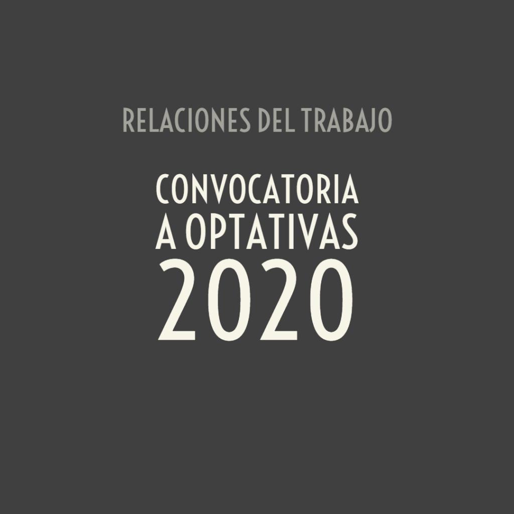 Convocatoria a optativas 2020