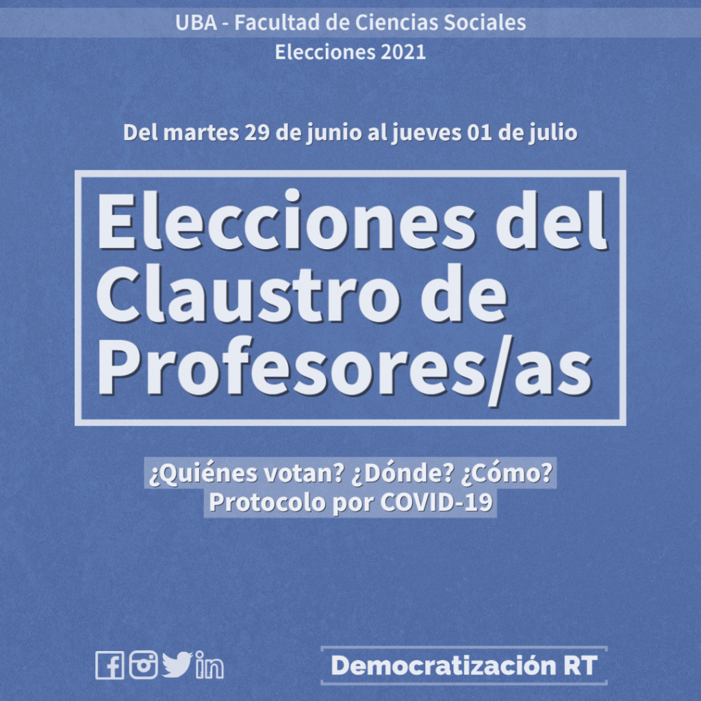 Elecciones del Claustro de Profesores/as | ¿Quiénes votan? ¿Dónde? ¿Cómo? Protocolo por COVID-19