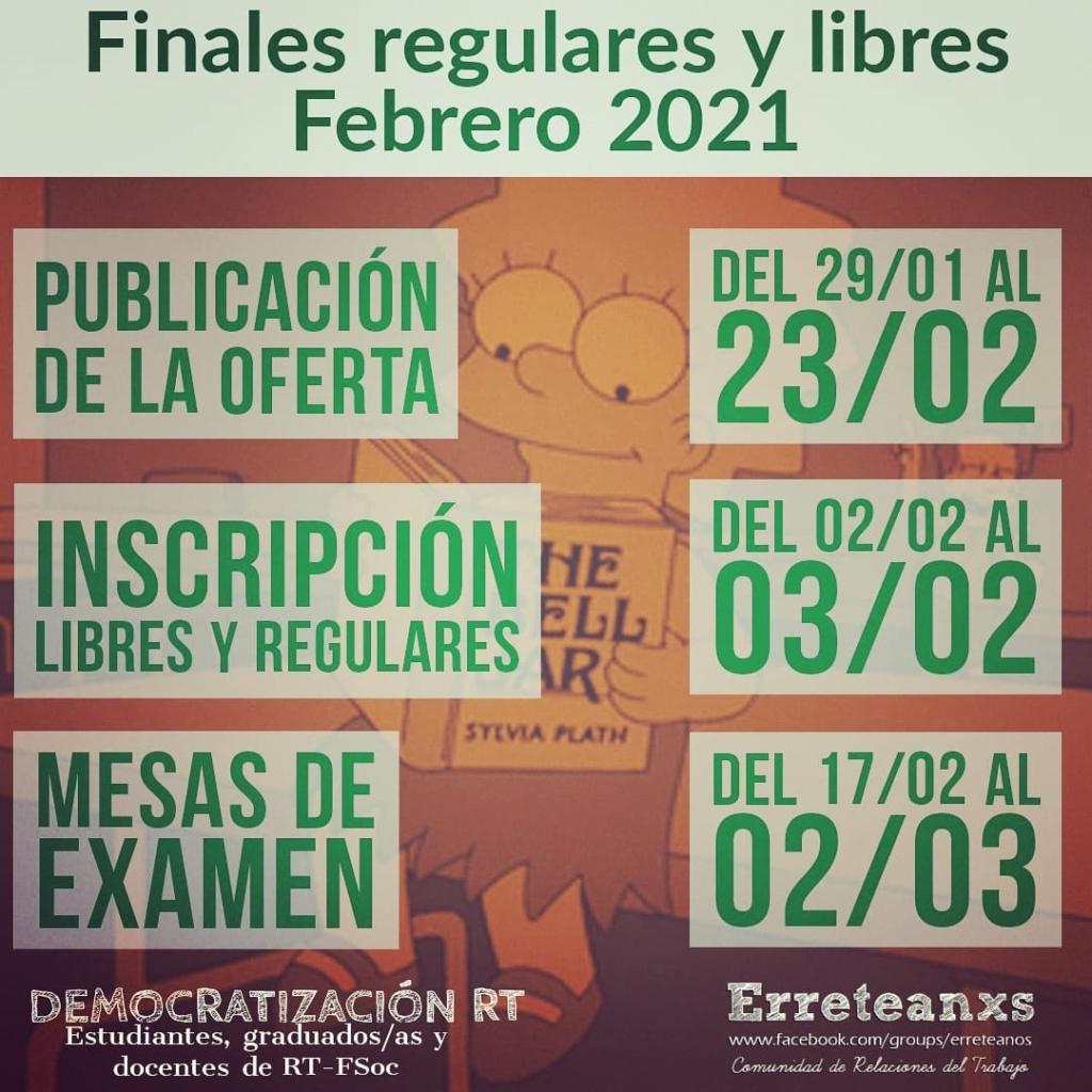 Exámenes finales virtuales libres y regulares turno febrero