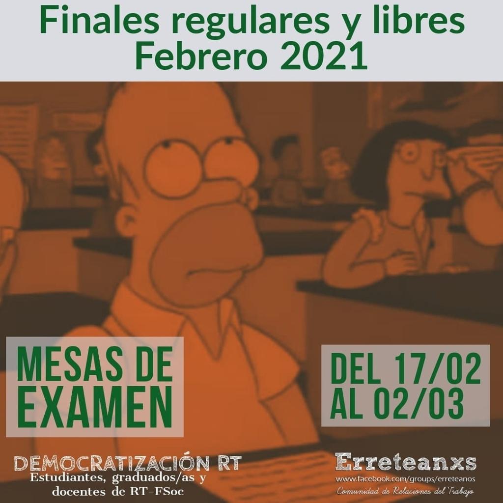 Mesas de examen turno febrero 2021