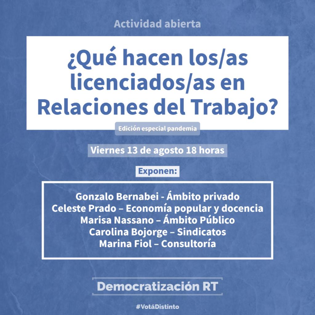 AGENDA | ¿Qué hacen los/as licenciados/as en Relaciones del Trabajo? – Edición especial pandemia