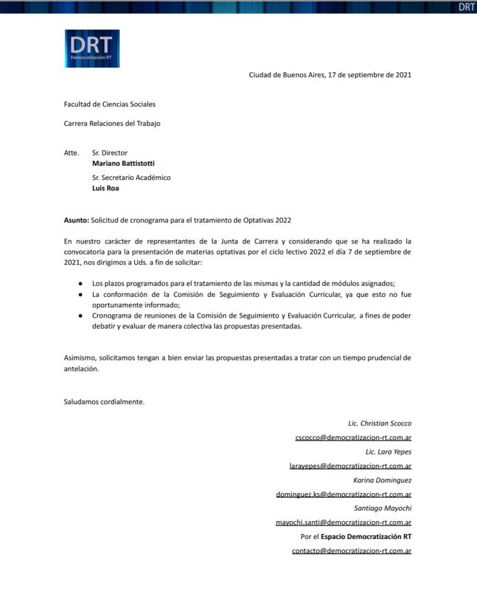 Nota: Solicitud de cronograma para el tratamiento de Optativas 2022